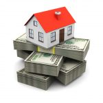 abstract 3d illustration of house on money stack, real estate business concept